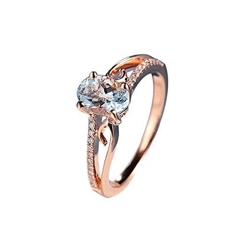 Cwemimifa Edelstein-Achat für Frauen Engagement, Exquisite Frauen Oval Ring Diamant Schmuck Braut Engagement Ehering, Rose Gold, 7#