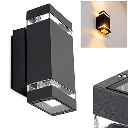 Applique da Esterno Design Moderno Modello Edevik- Lampada da Parete Alluminio Color Nero Ideale per Veranda Patio- Illuminazione Giardino Luce Up&Down