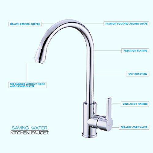 AuraLum Elegant Mischbatterie Küchenarmatur 360° drehbar Schwenkbarer Wasserhahn Armatur für Küche Waschbecken - 3