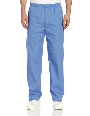 Landau Men's Elastic Drawstring Scrub Pant - Blue -