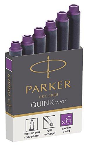 Parker 1950410 Quink Nachfüllpatronen für Füllfederhalter, kurze Patronen, 6er Packung, violette...