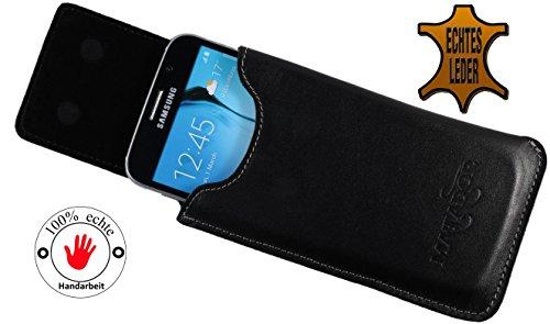 Slim Design Echt Ledertasche Matador Apple iPhone 4 / 4s Handytasche Hülle Schutz Etui Vertikaltasche mit verdecktem Magnetverschluß und Gürtelschlaufe (Schwarz/Black) Schwarz/Black
