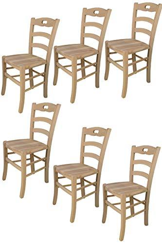 Tommychairs - 6er Set Stühle Savoie für Küche und Esszimmer, Struktur aus poliertem Buchenholz, unbehandelt und 100% natürlich und Einer Sitzfläche aus poliertem Holz