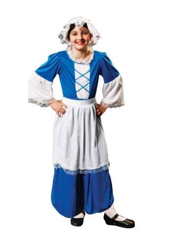 Tudor Mädchen blaue Kostüm Alter 7-9 (Mädchen Kostüm Viktorianisches)