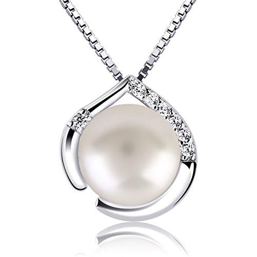 B.Catcher Perle Halskette Kette Damen Anhänger 925 Silber Schmuck Herzsprache Set Süßwasserperlen 45cm Kettenlänge Valentinstag Geschenk