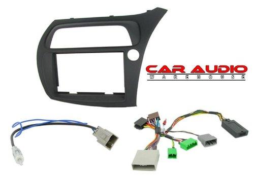 T1 o-T1-CTKHD01- Civic Hatchback 06> Noir de faade d'autoradio Double Din, adaptateur antenne &Interface de commande au volant pour type (SWC)