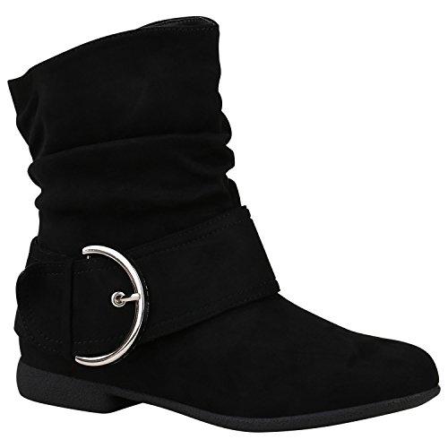 Stiefelparadies Damen Schuhe Schlupfstiefel Schnallen Stiefeletten Leder-Optik 150474 Schwarz Schnallen 39 | Flandell® (Stiefeletten Schnalle Schwarz)