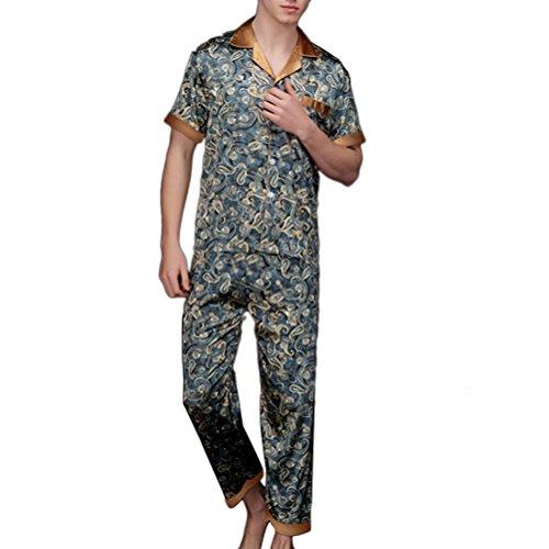 Zhhlaixing Fashion TZ021 Mens Nightwear Sleepwear Satin Printed Pyjama Suit Set Navy blue