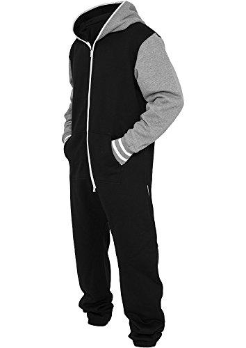 Urban Classics Herren College Sweat Jumpsuit - Regular Fit Black/Grey