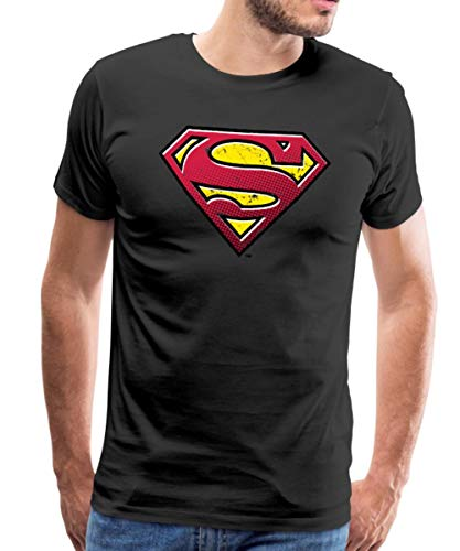 s Superman Logo Used Look Männer Premium T-Shirt, L, Schwarz ()