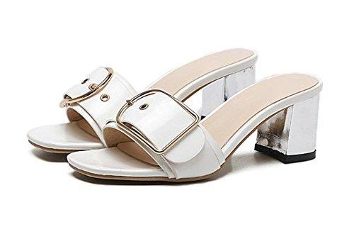 Sommer Sandalen dick mit eckigem Kopf Gürtelschnalle Sandalen und Pantoffeln Frauen Hausschuhen White