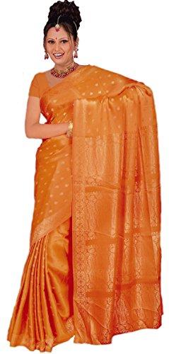 Trendofindia Indischer Bollywood Fashion Sari Stoff Damenkostüm Kleid Orange CA105 -