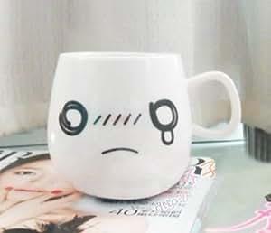 Tasse Verre Ceramique mignon visage Noir Blanc Couple Cafe The