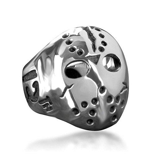 Acciaio inossidabile Venerdš¬ 13 Killer Jason Mask Uomini Anello con catena maschera Misura anello 11