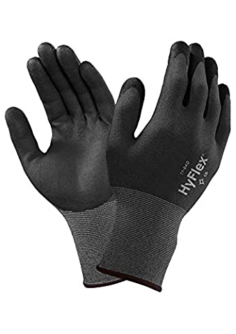 Ansell HyFlex 11-840 Multi-purpose gloves, mechanical protection, Black, Size 7 (Pack of 12 pairs)