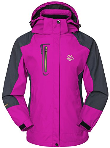 mochoose women's outdoor mountain waterproof windbreaker softshell ski hooded jacket sportwear rain coat camping fishing hunting working jacket