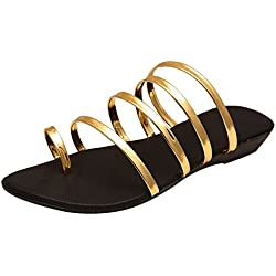 Rgk's Women & Girls Designer Flat Black Golden/Silver Multi Strap Sandals (4 UK, GOLDEN)