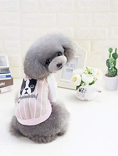 WXPC Primavera y Verano Ropa para Mascotas Perro Camiseta Gato Chaleco Ley de Peluche Cubo béisbol Camisa Rosa Servicio a Domicilio 2019 nuevos Suministros para Mascotas, L