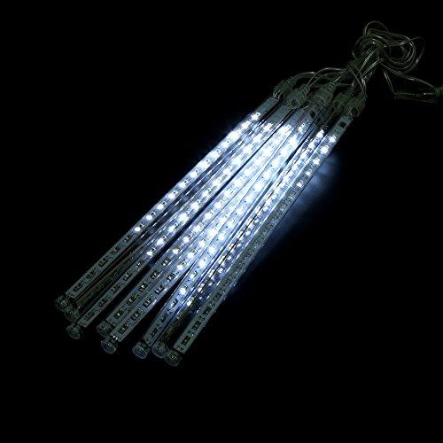 LED Meteorschauer Lichter, 8 LED Röhren Schneefall Lichterkette Stimmungsbeleuchtung für Garten/Hochzeit/ Party/Weihnachten Dekoration(30cm kaltweiß)