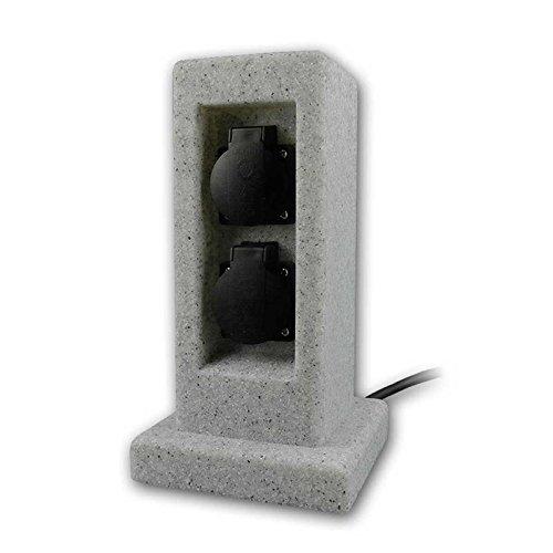 Gartensteckdose 2-fach, IP44, Energiesäule, Granit