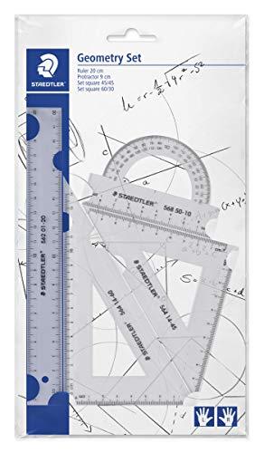 Mars 569 - Set De Géométrie Pour Gauchers & Droitiers (Règle 20 Cm, Rapporteur, Équerres 60° & 45°)
