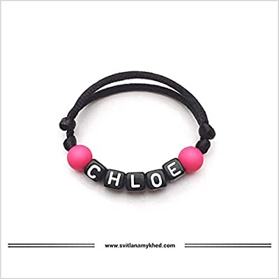 Bracelet personnalisable avec prénom CHLOE création sur mesure! Bijoux avec lettres d'alphabet A - Z (couleurs aux choix); Handmade