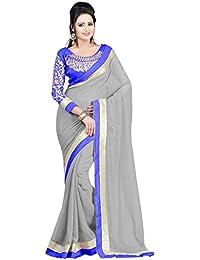 Tread India Chiffon Saree (Zarnarakhodi(blue26)_Grey_Free Size)