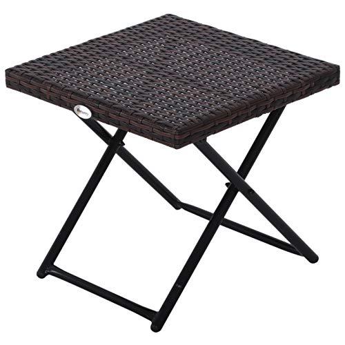 Outsunny Table Basse Pliable de Jardin Style Cosy Chic dim. 40L x 40l x 40H cm métal époxy résine tressée Imitation rotin Marron