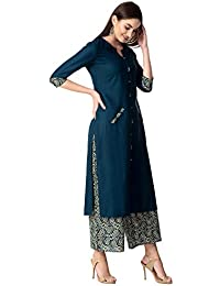 Khushal K Women's Rayon Kurta With Palazzo Pant Set