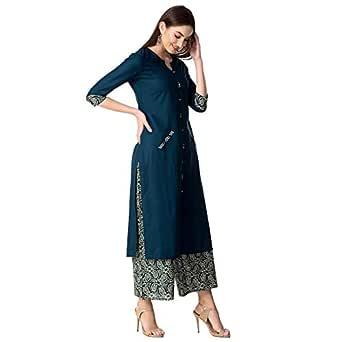 KHUSHAL K Women's Rayon Kurta with Palazzo Pant Set (Blue, Small)