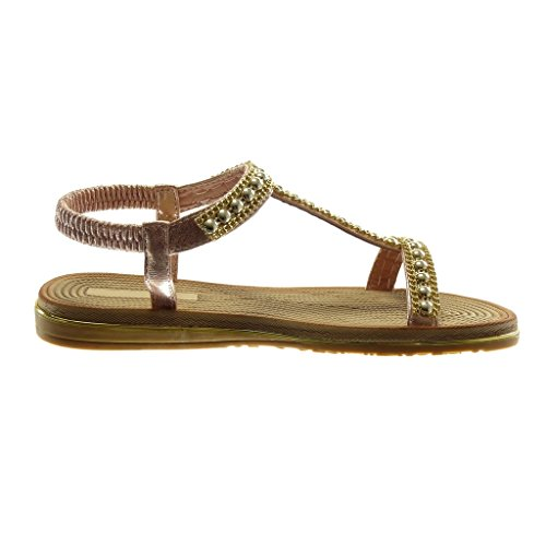 Angkorly Chaussure Mode Sandale Slip-On Salomés Lanière Cheville Femme Perle Chaîne Doré Talon Compensé 2 cm Champagne