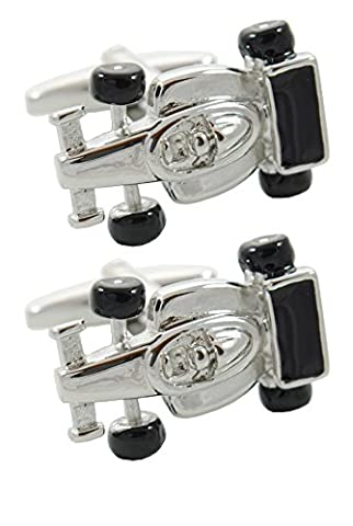 COLLAR AND CUFFS LONDON - HIGH QUALITY Sporty Racing Car Cufflinks - Solid Brass - Perfect For Car Lovers - Silver Colour - Presentation Gift Box Included - Sport