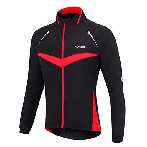 iCREAT Herren Jacket Air Jacket Winddichte wasserdichte MTB Mountainbike Jacket Visible reflektierend, Fleece Warm Jacket für Herbst, Rot Gr.XXL