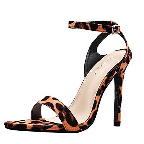 JiaMeng Damen Sandalen, Plateau Stiletto High Heel Sandalen Pumps Schuhe Hohe Eine Wortschnalle Stiletto Nachtclub High Heels Sandalen mit Absätzen Party Hochzeit Abend -
