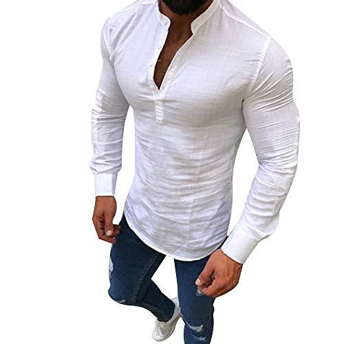 Jungen Leinen Hemd (Youthny Herren Jungen Leinen Hemd Langarm Stehkragen V-Ausschnitt mit Knopfleiste Einfarbig Langarmshirt T-Shirt)