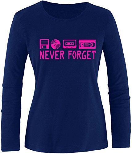EZYshirt® Never forget Damen Longsleeve Navy/Pink