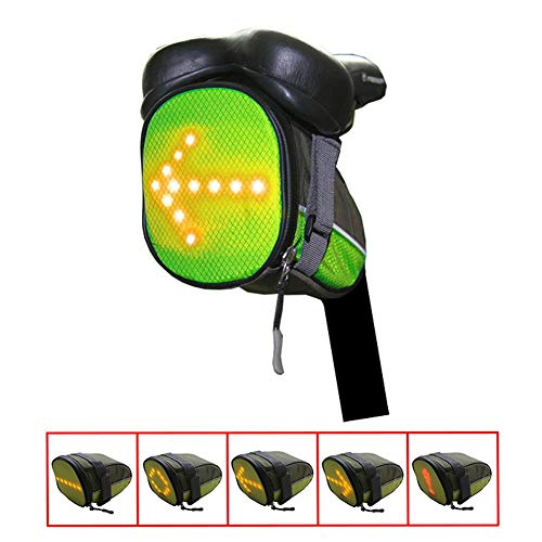 Coogel Bike Tail Light Led Wireless Remote Control Safety Bag Rear USB Rechargeable Super Bright Bicycle Taillight Fits On Any Road Bikes for Cycling Flashlight Night Warning Guiding Tool (Green)