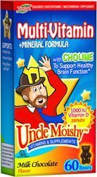 Uncle Moishy Kosher Childrens Multi-Vitamin+Mineral Formula with Choline and 1-000 IU Vitamin D - Milk Chocolate Dairy Cholov Yisroel 60 Bears by Uncle Moishy