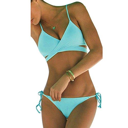 Damen Sport Freizeit Wassersport Schwimmen Push-up Bikini Sets Bademode Swimwear (M, Hellblau)