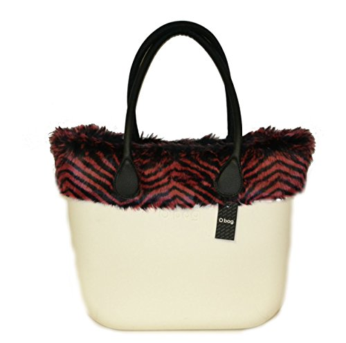 Borsa o bag grande bianca con bordo eco pelliccia rosso e manici