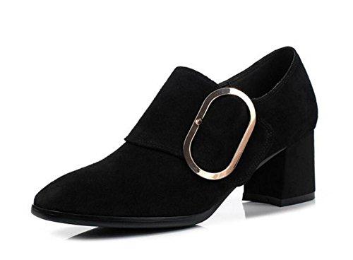 Scarpe da donna Suede genuino Ufficio e carriera Mocassini Pompa Ballerina Block Heel Formato 35To42 Black