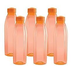 Cello Crystal PET Fridge Bottle Set, 1 Litre, Set of 6, Orange