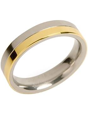 Boccia Damen-Ring teil-goldplattiert Titan 0129-02
