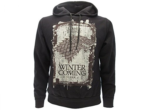 SUDADERA CON CAPUCHA Hoodie WINTER IS COMING Familia Casa STARK Serie de Televisión JUEGO DE TRONOS Game Of Thrones - 100% Oficial HBO (S Small)