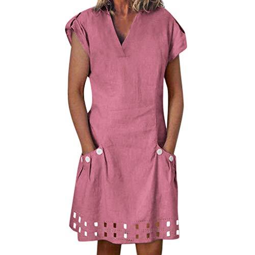 SANFASHION Damen Strandkleid Sommer Kleid Lässig Große Groß Kleider Womens Leinenkleid Kurzarm Freizeitkleid Boho Sommerkleid