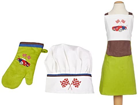 MUkitchen MiniMu Kids 3-Piece Cotton Chef Set with Apron, Hat and Mitt, Roadster by MUkitchen