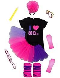 I Love 80's Pink Purple Lilac Set 80s Fancy Dress Ladies Neon Fluorescent Complete Set (2 Extra Large)