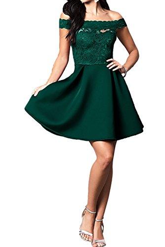 Ivydressing Damen Kurz A-Linie Abendkleider U-Ausschnitt Spitze Ballkleid Partykleider Dunkelgruen