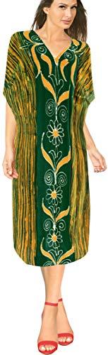 LA LEELA Frauen Damen Baumwolle Kaftan Tunika Batik Kimono freie Größe Lange Maxi Party Kleid für Loungewear Urlaub Nachtwäsche Strand jeden Tag Kleider Grün_U990 -