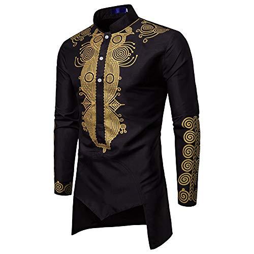 TEELONG Pullover HerrenHerbst Winter Luxus afrikanischen Print Langarm Dashiki Shirt Top UnterhemdTop Langarmshirts T-Shirts Sweatshirt Playsuit Streetwear Kapuzenpullover -